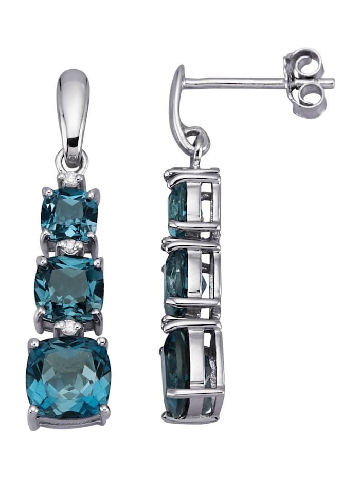 Amara Pierres colorées Boucles d'oreilles en or blanc 585, Bleu