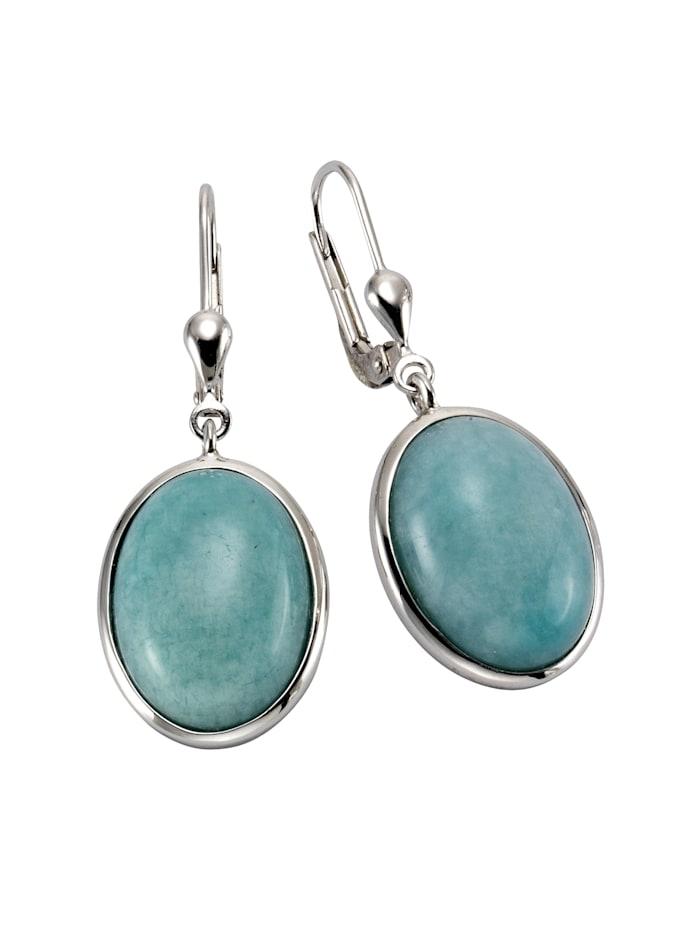 ZEEme Ohrhänger 925/- Sterling Silber Amazonit blau 3,6cm Glänzend 925/- Sterling Silber, weiß