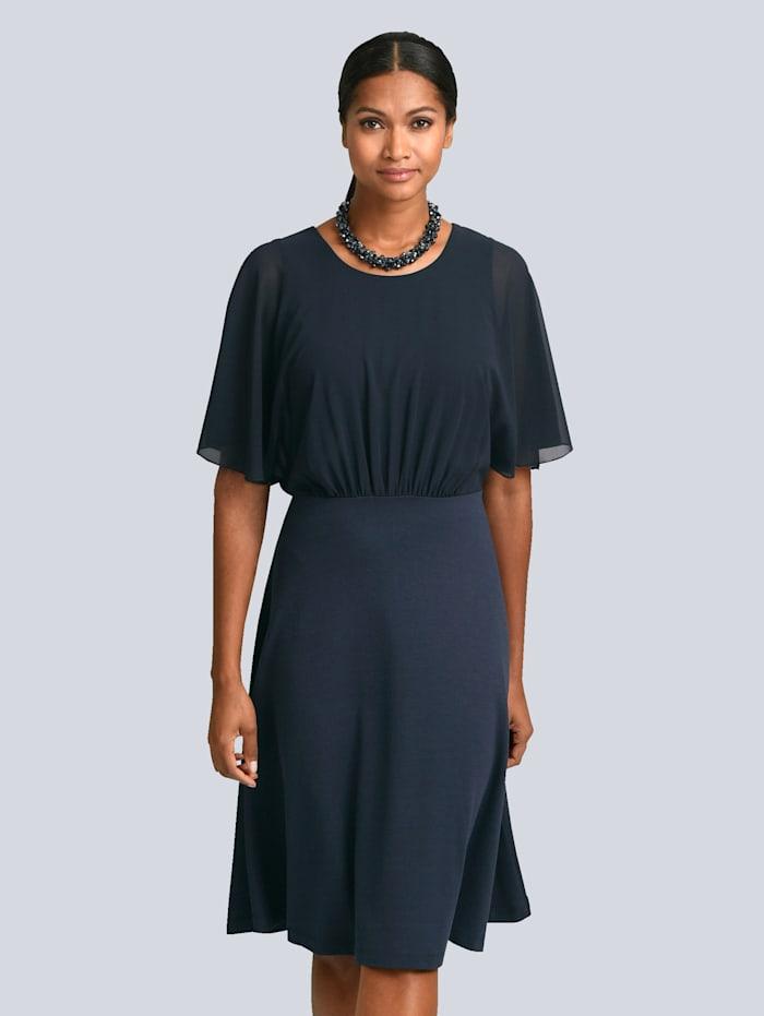 Alba Moda Kleid mit eleganter oberer Lage aus feinem Chiffon, Marineblau
