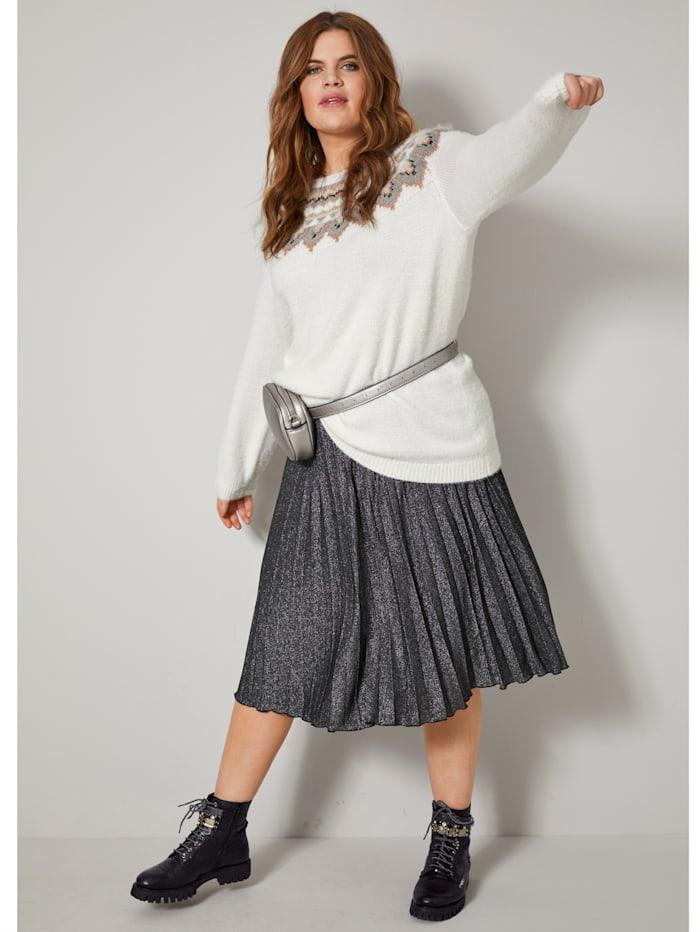 Angel of Style Pullover mit Norwegermuster, Off-white/Silberfarben