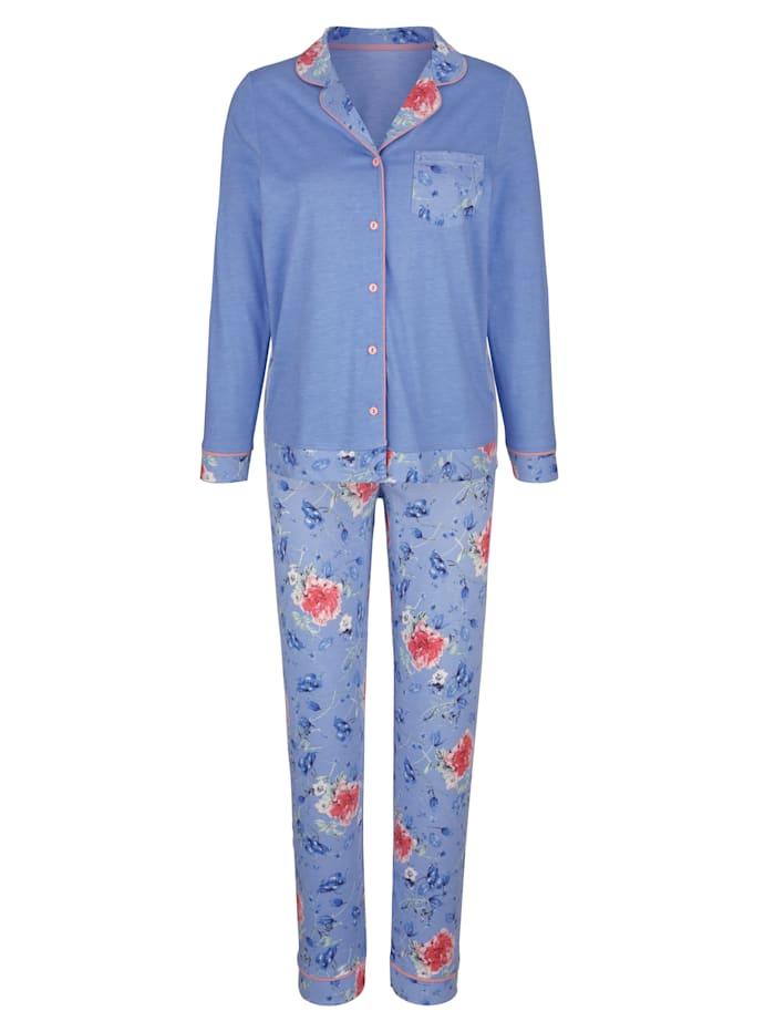MONA Schlafanzug mit bedruckter Brusttasche, Hellblau/Altrosa/Grün