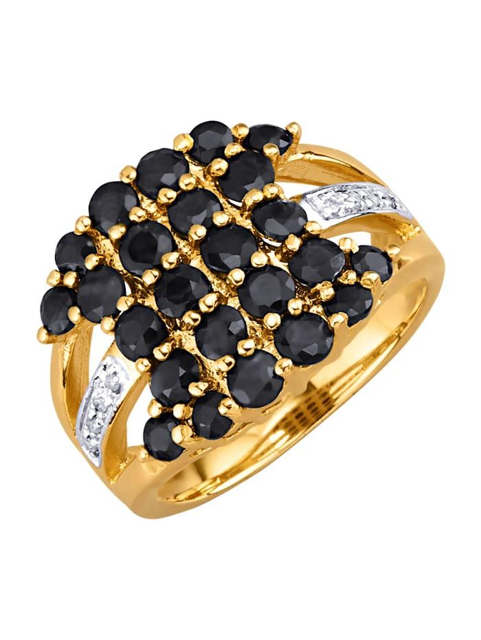 Damesring met saffieren en diamanten, Blauw