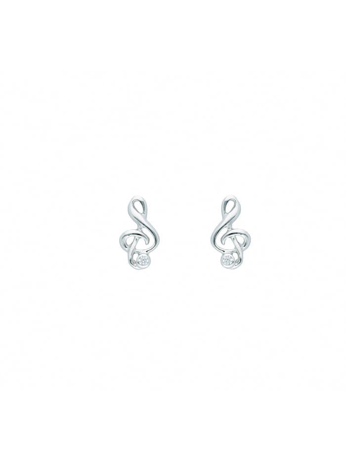 1001 Diamonds Damen Silberschmuck 925 Silber Ohrringe / Ohrstecker Notenschlüssel mit Zirkonia, silber