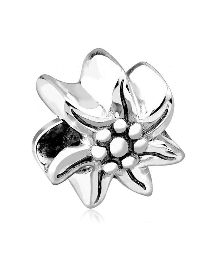 Nenalina Charm Edelweiss Bead Wiesn Oktoberfest 925 Silber, Silber