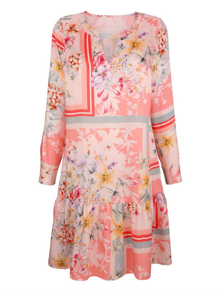AMY VERMONT Kleid mit Blumendruck, Rosé/Hellblau/Gelb