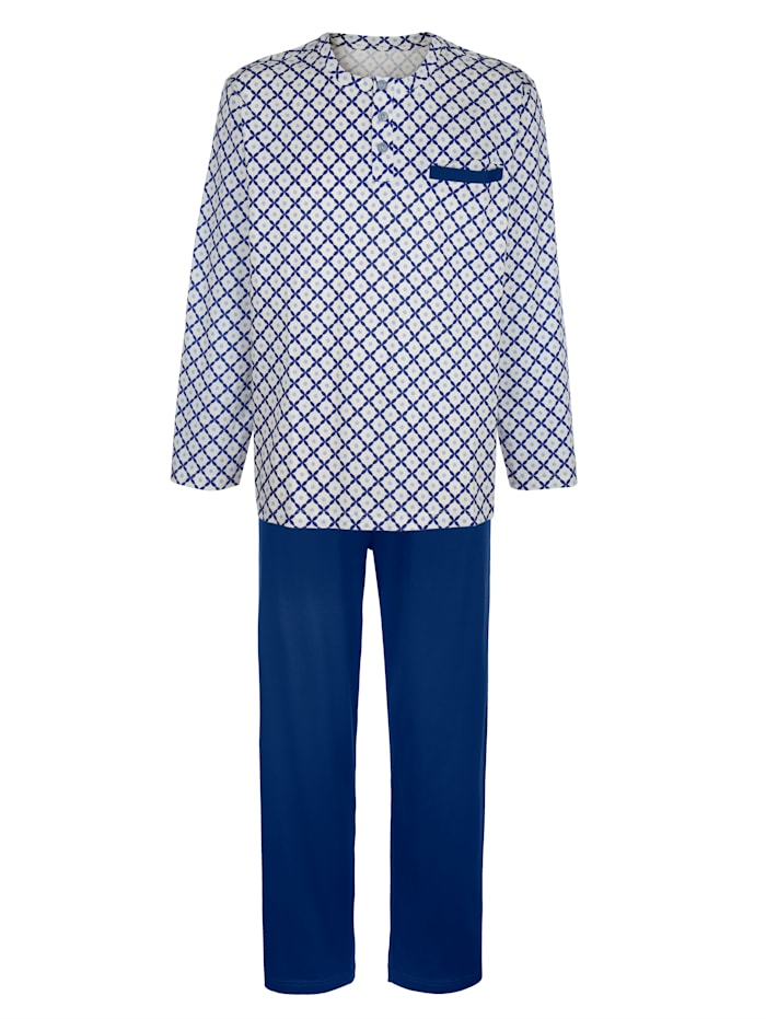 BABISTA Pyjama en coton mercerisé, Bleu roi/Beige