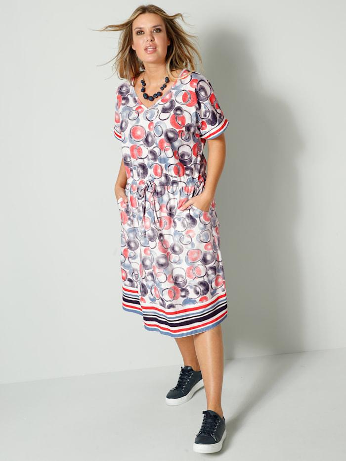 Janet & Joyce Jersey jurk met elastische taille met bindbandje, Blauw/Wit/Koraal