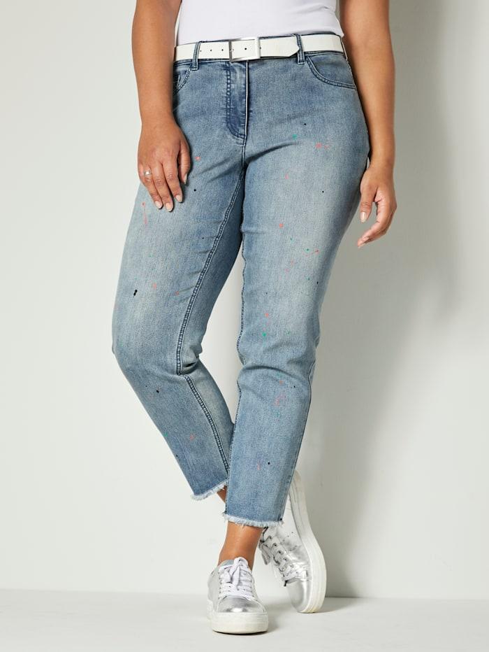 Angel of Style Jeans met print in verfspattenlook, Blue bleached