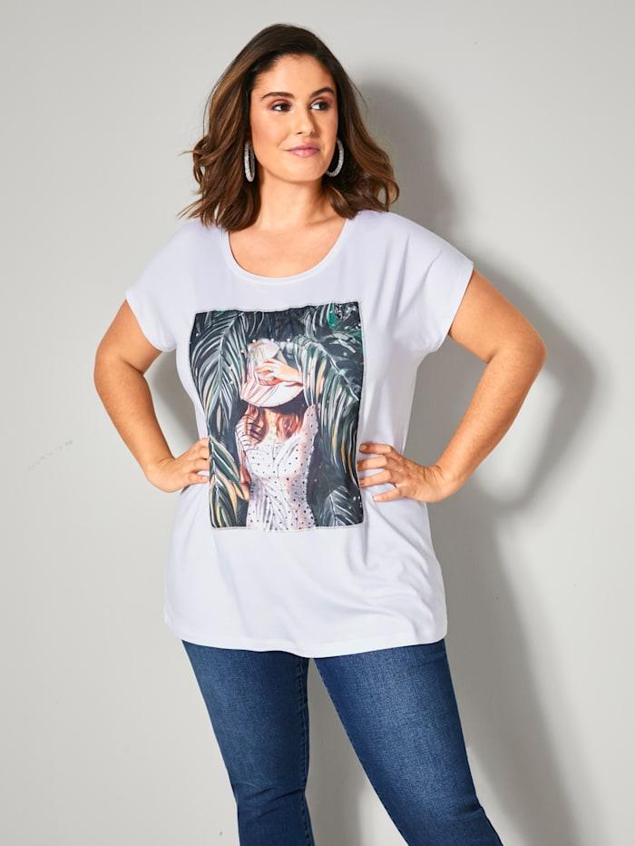 Sara Lindholm Shirt mit Druckmotiv, Weiß