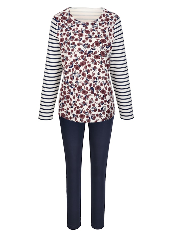 Simone Loungewear Set, Marine/Ecru/Bordeaux