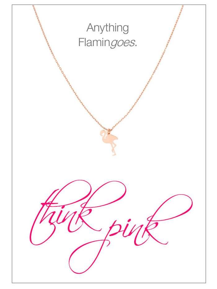 Herzkarte Flamingo-Collier, Rosé