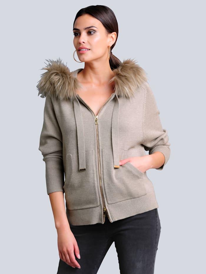 Alba Moda Vest met beleg van imitatiebont aan de capuchon, Zand