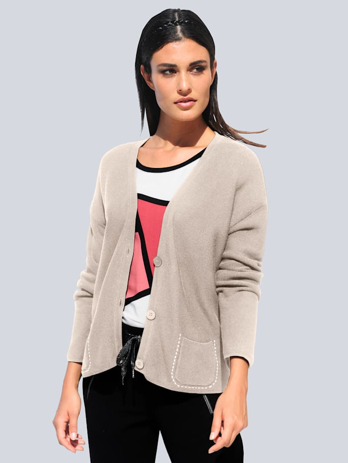 Alba Moda Strickjacke mit Stickerei auf den Taschen, Beige/Off-white