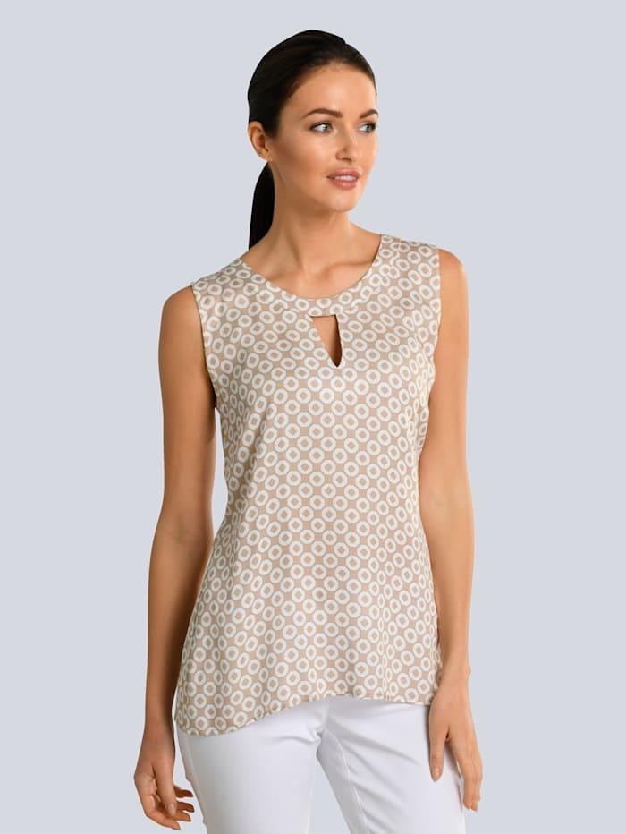 Alba Moda Top s grafickým vzorem, Bahenní/Bílá