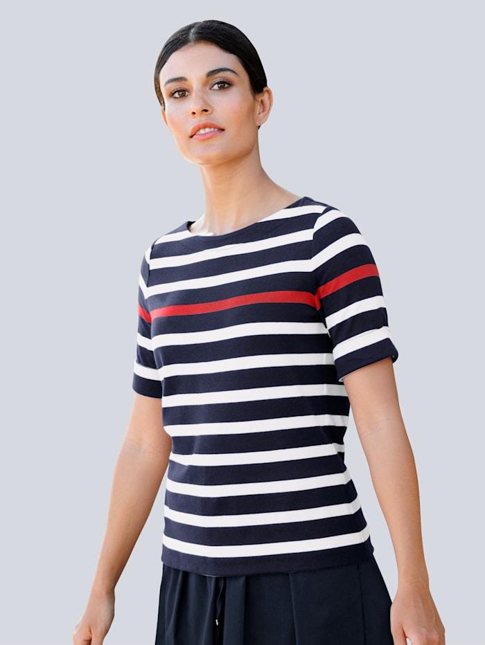 Alba Moda Shirt met strepen, Marine/Wit/Rood