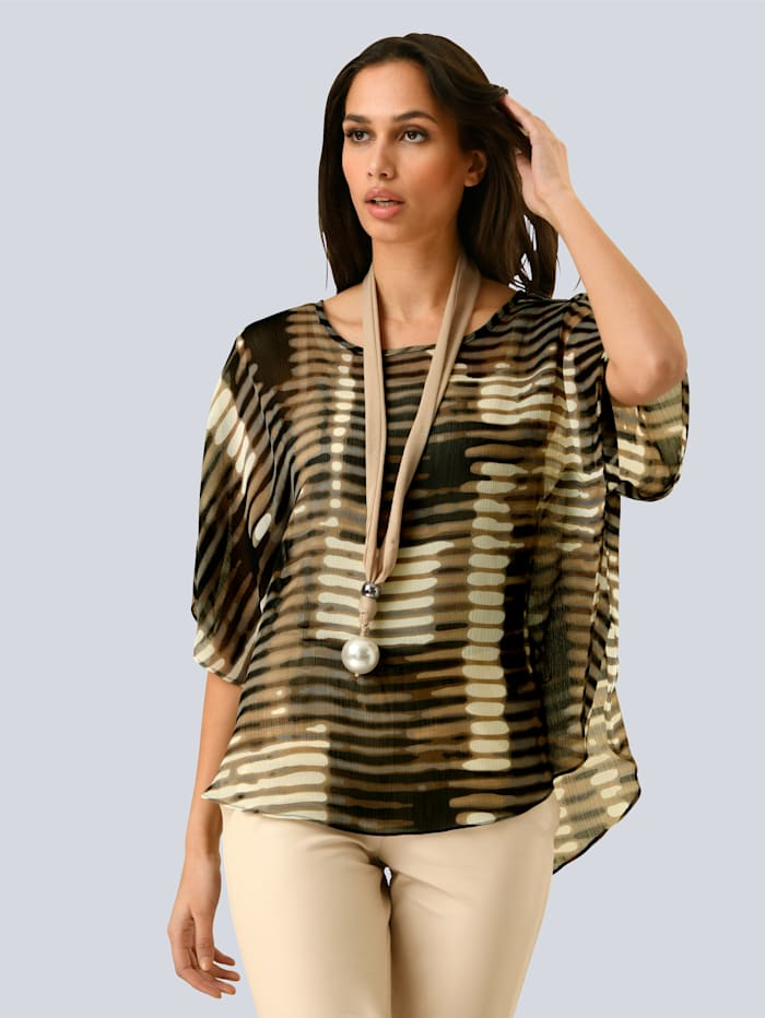 Alba Moda Bluse aus transparenter Ware, Braun/Beige