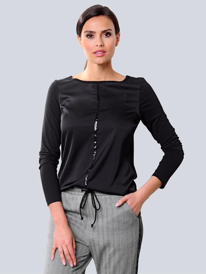 Alba Moda Shirt mit Paillettenband, Schwarz