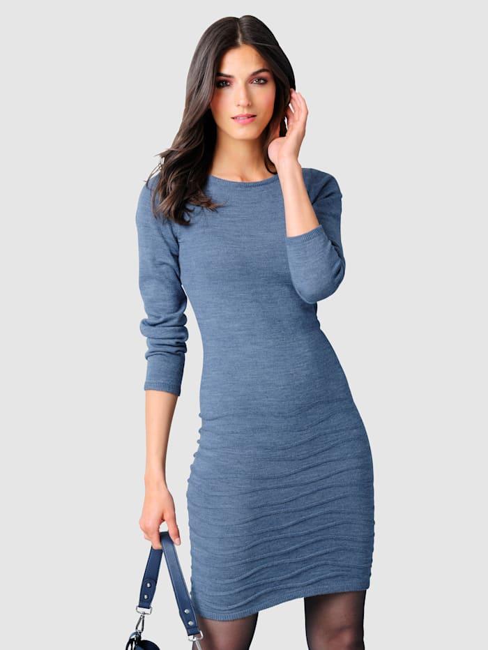 Alba Moda Pletené šaty v modernej pletenej štruktúre, Modrá