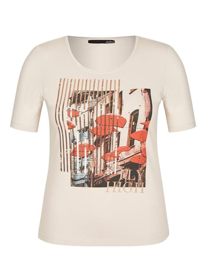 Le Comte T-Shirt mit Front-Print und Glitzerdetails, MARZIPAN
