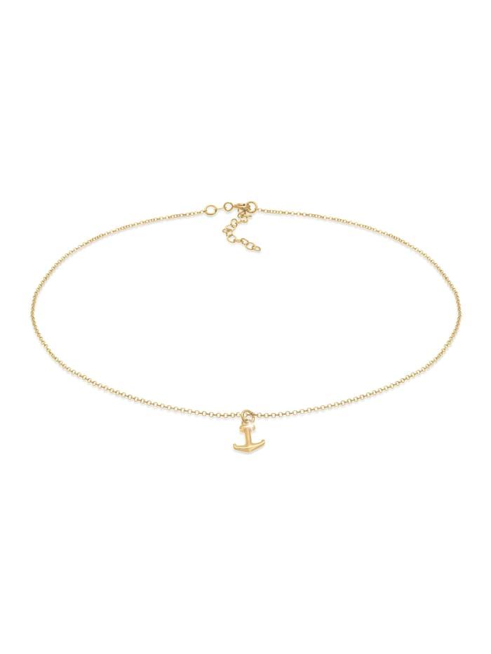 Elli Halskette Choker Anker Maritim Meer Erbskette 925 Silber, Gold