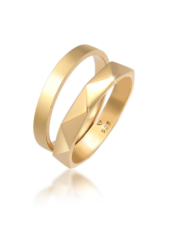 Elli Ring Bandring Basic Hexagon Look 2Er Set 925 Silber, Gold
