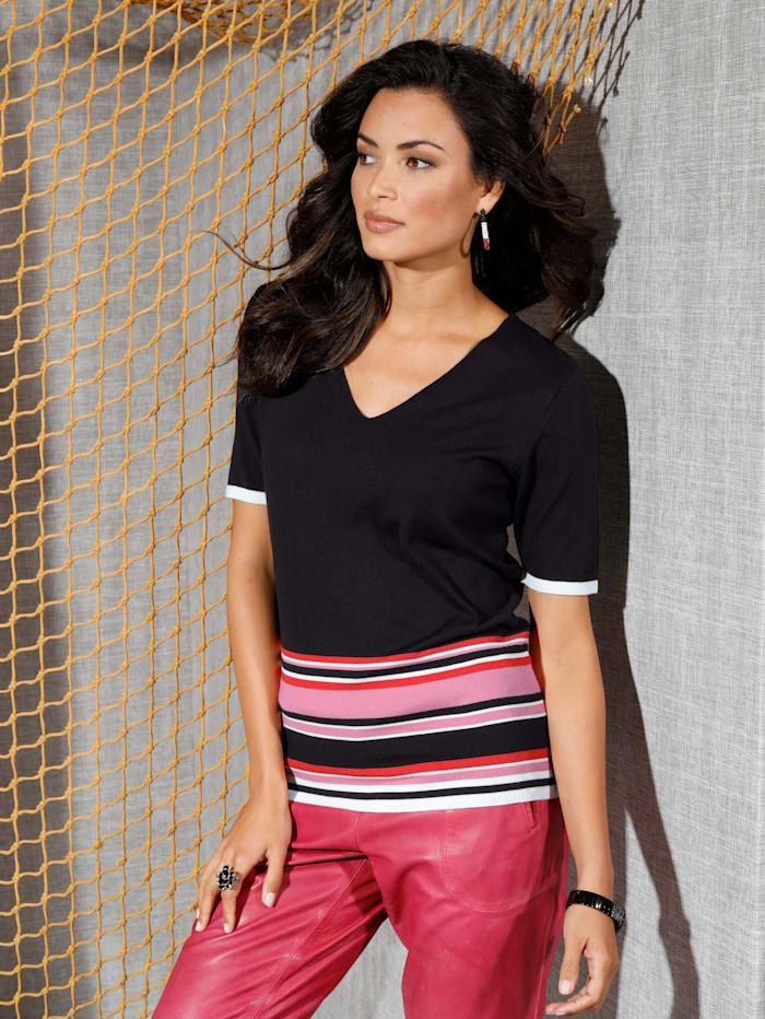 AMY VERMONT Pullover in Streifen-Optik, Schwarz/Off-white/Pink