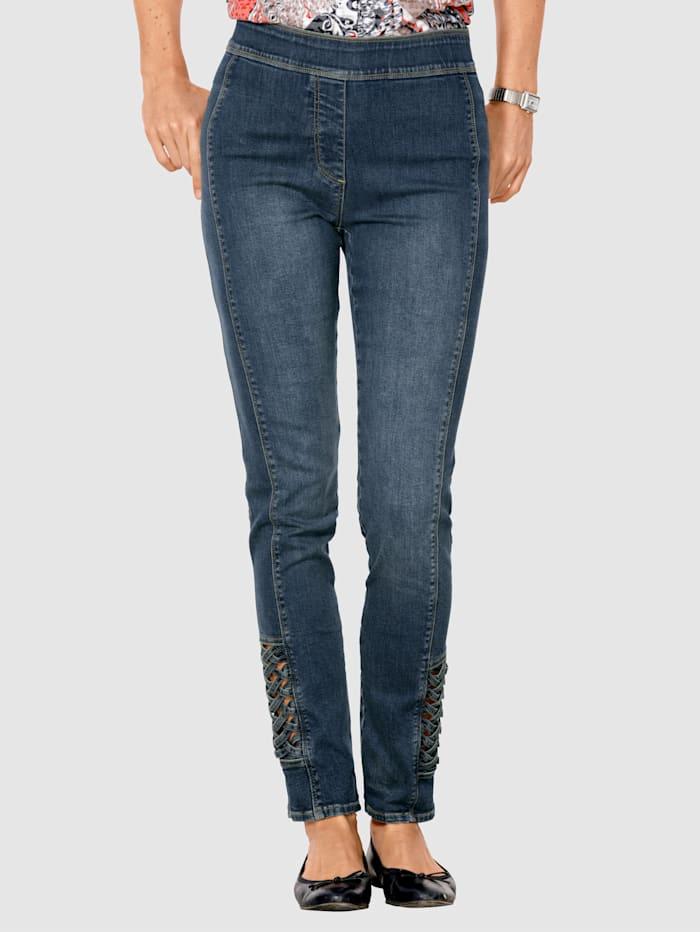 MONA Jeans med flettede innfellinger, Blå