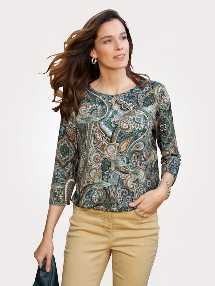 MONA Shirt mit Paisley-Druck, Tannengrün/Beige/Petrol