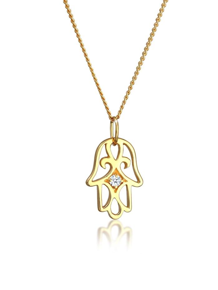 Elli Premium Halskette Hamsa Hand Diamant (0.03 Ct.) 585 Gelbgold, Weiß