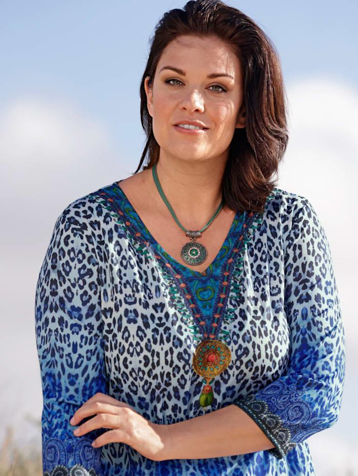 m. collection Longshirt met trendy print, Blauw