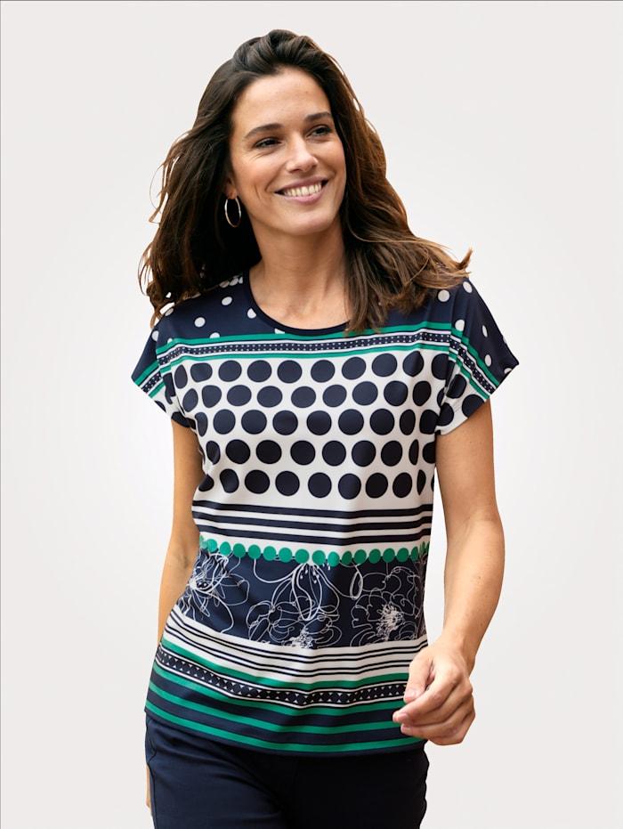 MONA Shirt mit platziertem Druck-Mix, Marineblau/Grün/Weiß