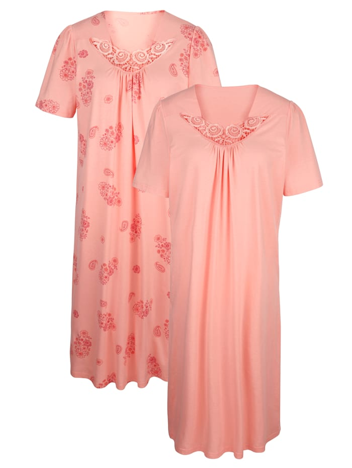 Harmony Nachthemden im 2er Pack mit elegantem Spitzenmotiv, Apricot/Koralle