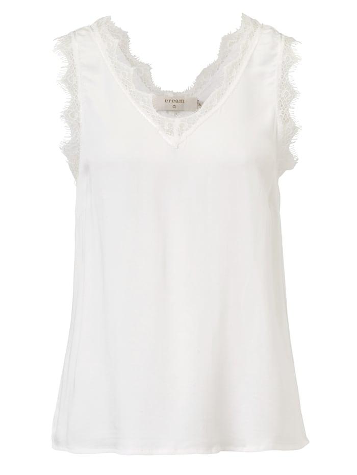 Cream Spitzentop, Off-white