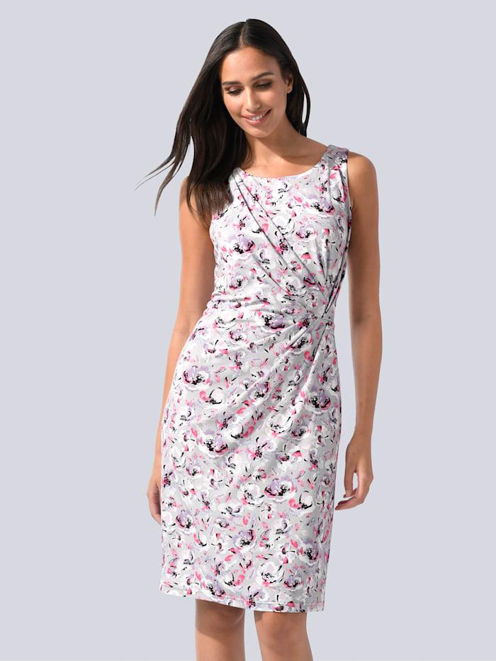 Alba Moda Kleid mit femininer Raffung in der Taille, Flieder/Grau/Pink