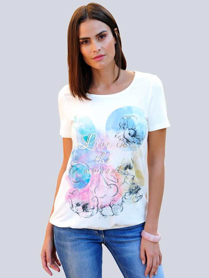 Alba Moda T-shirt à superbe imprimé mode, Blanc/Rose