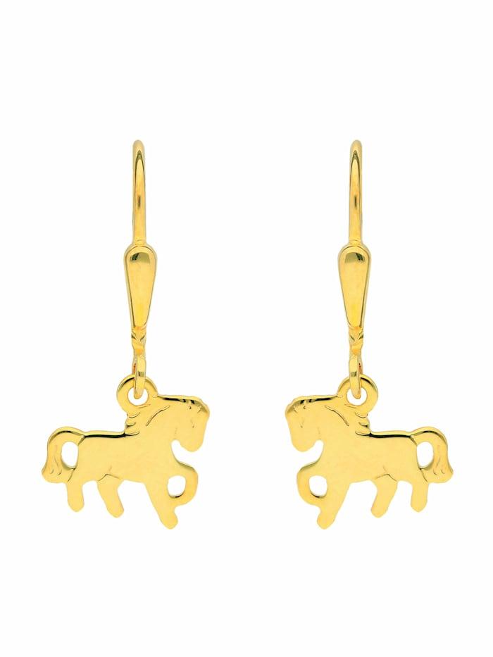 1001 Diamonds 1001 Diamonds Damen Goldschmuck 585 Gold Ohrringe / Ohrhänger Pferd, gold