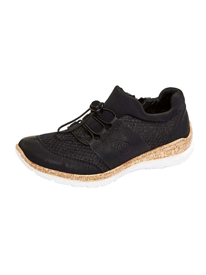 Rieker Schnürschuh aus hochwertigem Softmaterial, Schwarz