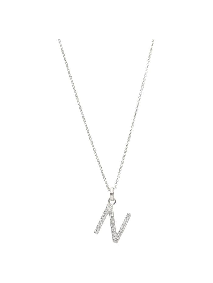 Smart Jewel Kette Buchstabe N mit Zirkonia Steine, Silber 925, Silber