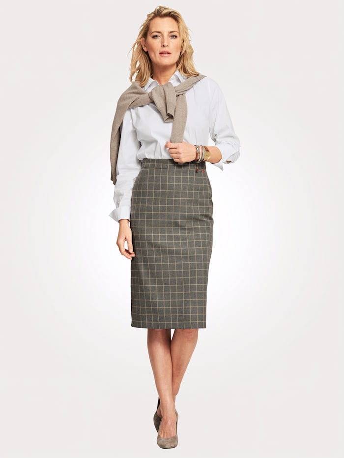 Relaxed by Toni Check skirt, Grey/Camel