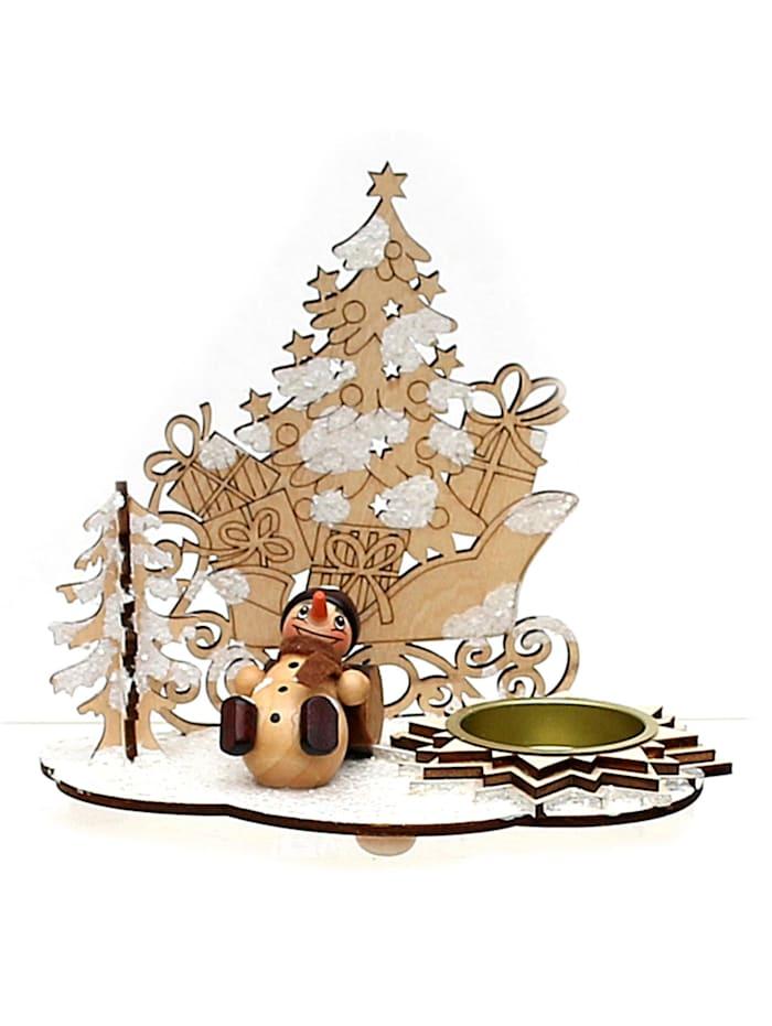 Teelichthalter mit Schneemannfigur Schlitten mit Schnee