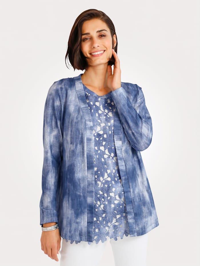 MONA Shirtjacke mit Webspitze, Blau/Weiß