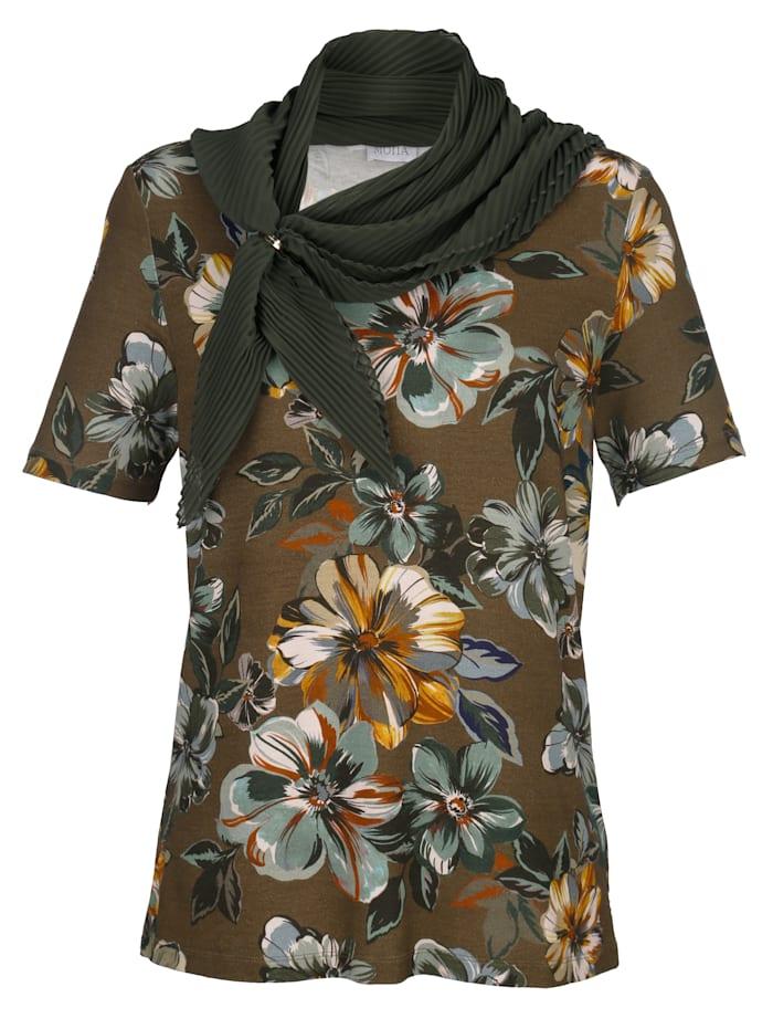 Shirt met plissésjaal