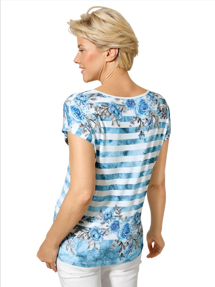 MONA Shirt mit effektvollem Druck, Blau/Ecru