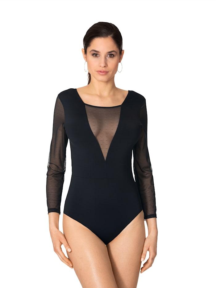 Simone Body met transparante inzetten van gestippeld mesh, zwart