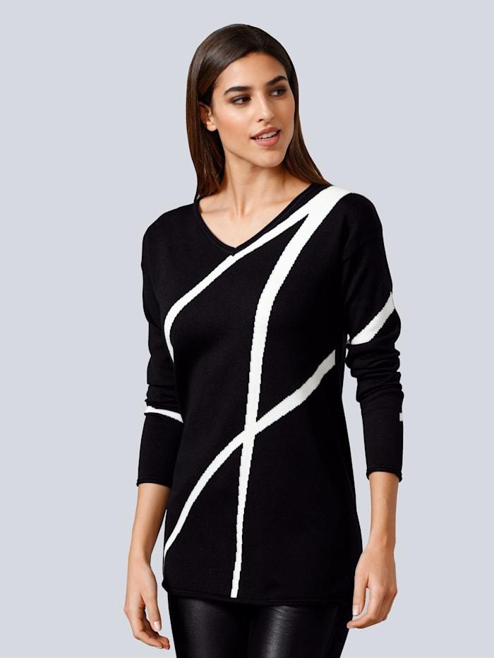 Alba Moda Pullover im Alba Moda exklusiven Dessin, Schwarz/Off-white
