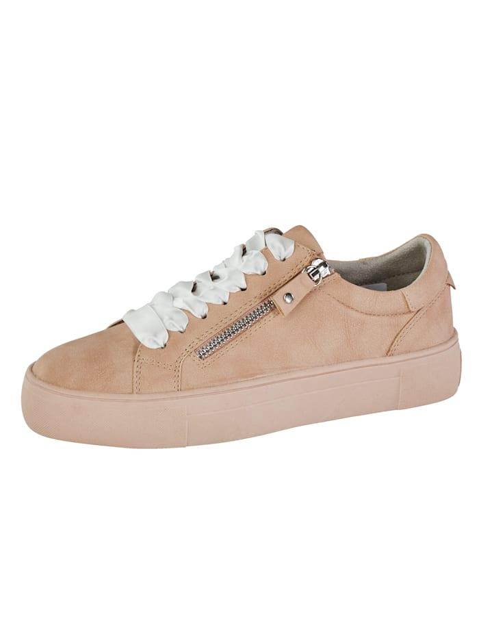 Liva Loop Sneakers med glidelås på siden, Nude