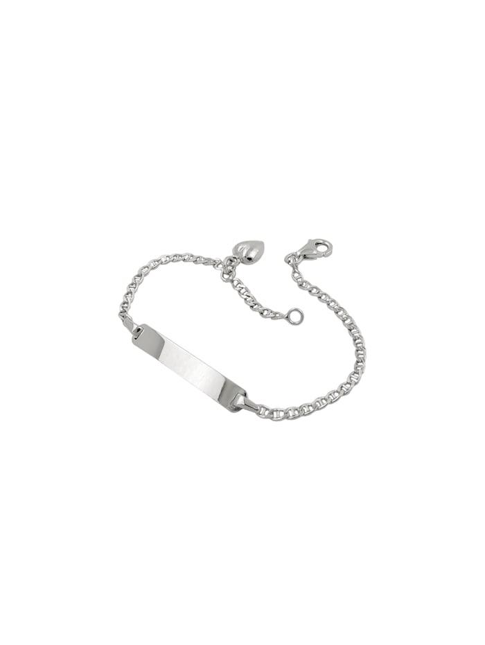Schildarmband für Kinder 2mm Stegpanzerkette Gravurplatte 25x4mm und Herz rhodiniert Silber 925 14cm