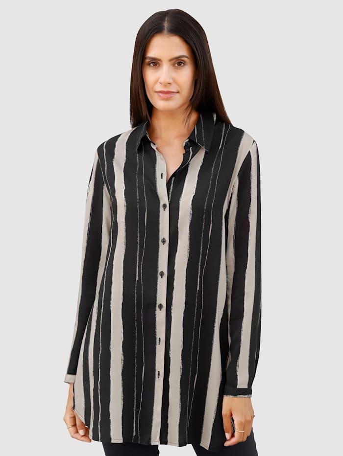 Laura Kent Dlouhá halenka v módním pruhovaném vzoru, Kamenná/Černá/Vlněná bílá