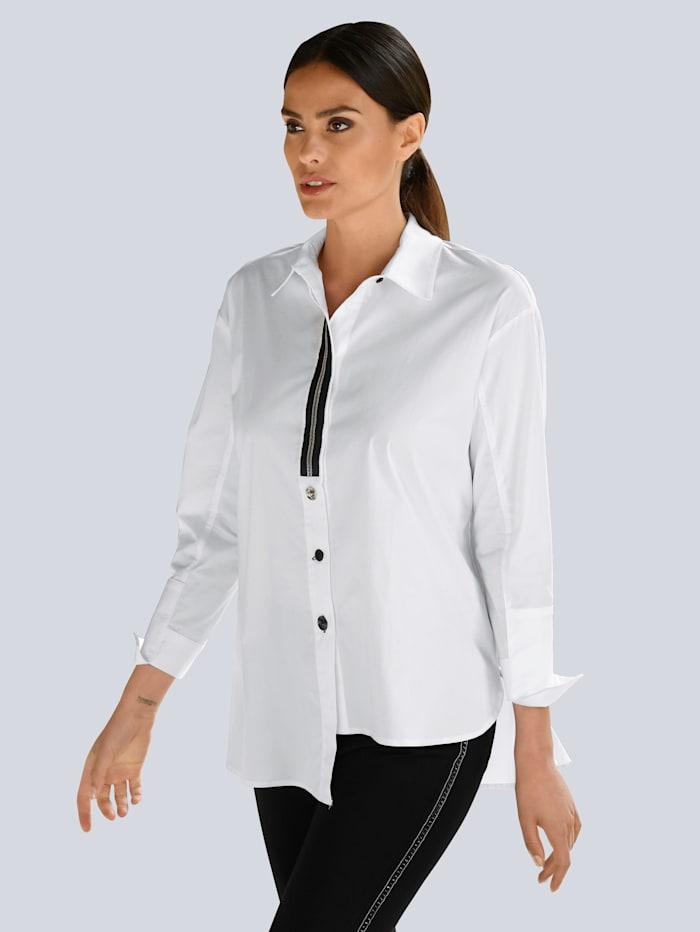 Alba Moda Bluse in asymmetrischer Schnittführung, Weiß