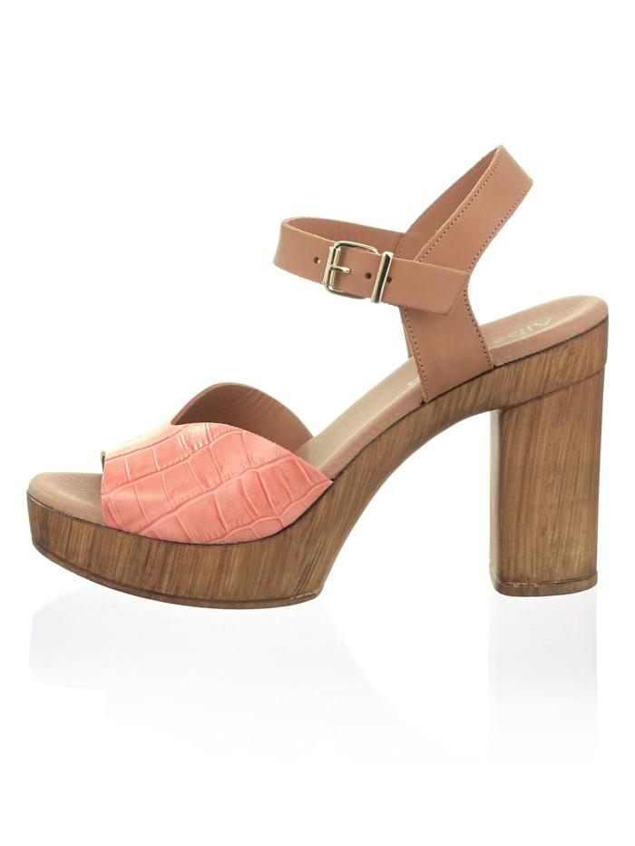 Sandales à effet croco reliéfé